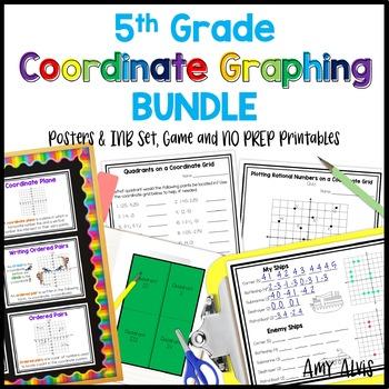 5th Grade Coordinate Graphing Bundle Poster INB Game NO PREP Printable