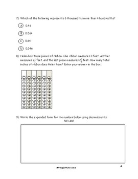 5th Grade Coordinate Plane and Year in Review Quick Checks