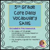 5th Grade Core Daily Vocabulary Skills Review Boxes