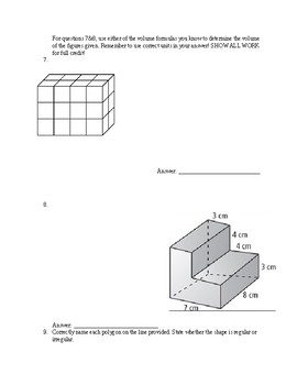 5th Grade Customary Conversions/Geometry & Volume Quiz/Test