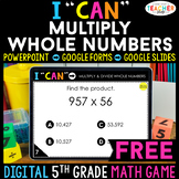 5th Grade DIGITAL I CAN Math Game | Multiplication | FREE