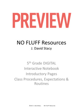 5th Grade DIGITAL Interactive Math Notebook - Introductory Pages GOOGLE DRIVE