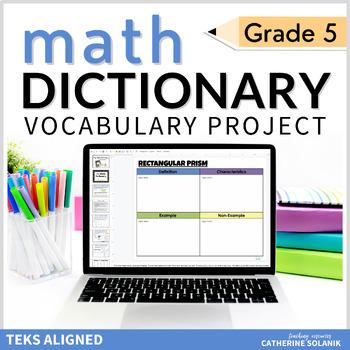 5th Grade TEKS MATH VOCABULARY DIGITAL DICTIONARY for GOOGLE SLIDES Editable