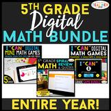 5th Grade DIGITAL Math BUNDLE   Google Classroom   Spiral