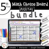 5th Grade DIGITAL Math Choice Board Bundle for Distance Learning