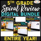 5th Grade DIGITAL Spiral Review & Quiz BUNDLE | Google Classroom