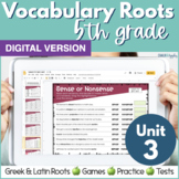 5th Grade DIGITAL Vocabulary Greek & Latin Roots - Unit 3