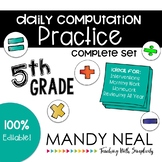 5th Grade Daily Computation Math Practice/ Spiral Review /Homework Practice