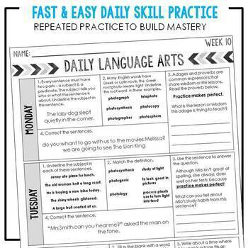 5th Grade Daily ELA for Writing & Language: Morning Work for Weeks 10-18