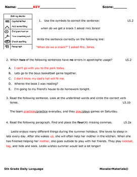 5th Grade Daily Language Volume 1