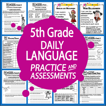 5th Grade LANGUAGE Practice and Assessments – 5th Grade ELA Morning Work