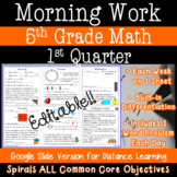 5th Grade Daily Math Morning Work - 1st Quarter