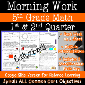 Math Morning Work for 5th Grade - 1st and 2nd quarter