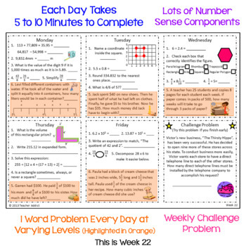5th Grade Daily Math Morning Work - 3rd Quarter