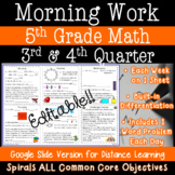 Math Morning Work for 5th Grade - 3rd and 4th quarter