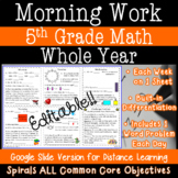 5th Grade Math Morning Work