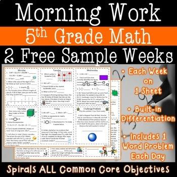 5th Grade Math Morning Work - Two FREE Weeks