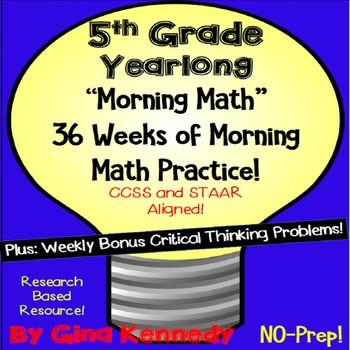 5th Grade Daily Math Problem-Solving Morning Work, 36 Week