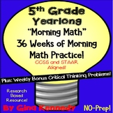 5th Grade Morning Math Practice Work, 36 Weeks All Standards!