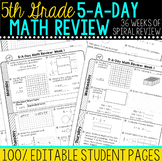 5th Grade Daily Math Spiral Review  Morning Work Editable
