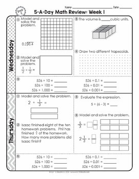 5th Grade Daily Math Spiral Review - Two Weeks Free by ...