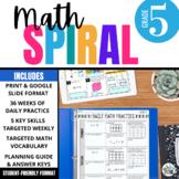5th Grade Math Spiral Review PRINT & DIGITAL   Full Year