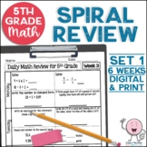 5th Grade Morning Work | 5th Grade Spiral Math Review | Set 1 (6 weeks)