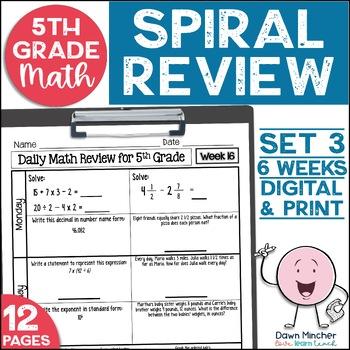 5th Grade Math Spiral Review Morning Work Set 3 (6 weeks)