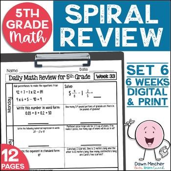 5th Grade Morning Work   5th Grade Spiral Math Review   Set 6 (6 weeks)