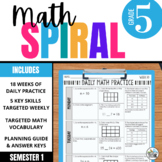 5th Grade Daily Math Spiral Review - Morning Work for Weeks 1-9