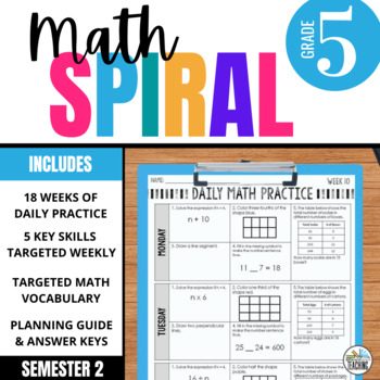 5th Grade Daily Math Spiral Review - Third Quarter Morning Work for Weeks 19-27