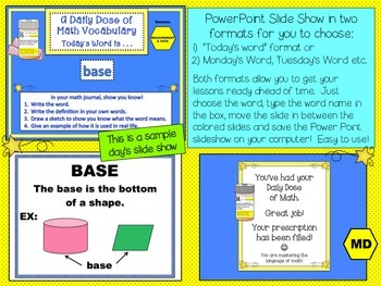 Measurement & Data Math Word Wall Posters and PPT Slideshow  5th Grade