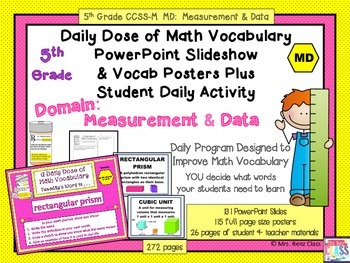 Measurement & Data Math Word Wall Posters and PPT Slidesho