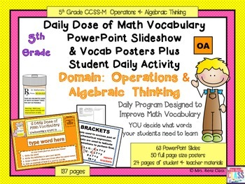 Operations in Algebraic Thinking Math Word WallPosters and PPT Slides 5th Grade