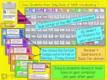 NUMBER & OPERATIONS BASE TEN Math Word Wall and PPT Slideshow  CCSS 5th Grade