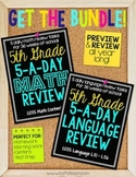5th Grade Daily Math and Language Spiral Review Bundle  Morning Work