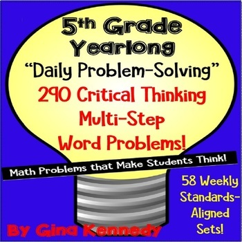 5th Grade Daily Problem Solving, 290 Multi-Step Math Word Problems! All Year!