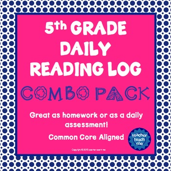 5th Grade Daily Reading Log - COMBO PACK