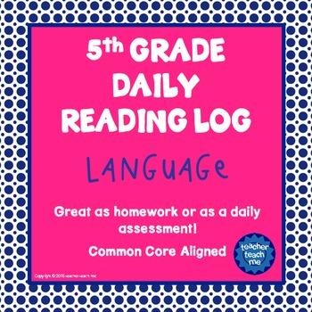 5th Grade Daily Reading Log - Language