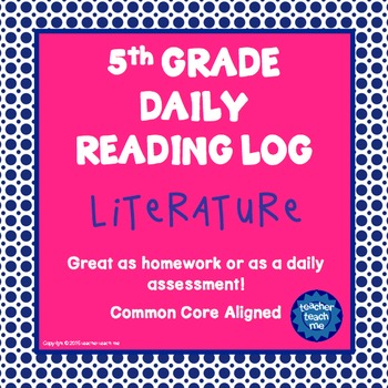 5th Grade Daily Reading Log - Literature