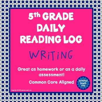 5th Grade Daily Reading Log - Writing