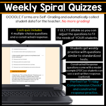 5th Grade DIGITAL Reading Comprehension Practice & Quizzes | Google Forms |  FREE