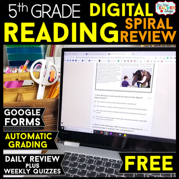 5th Grade DIGITAL Reading Comprehension Practice Spiral Review Distance Learning