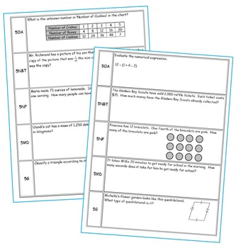 5th Grade Daily or Weekly Spiral Math Review {Common Core} 100% Editable