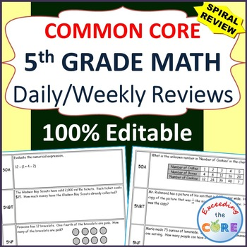 5th Grade Daily or Weekly Spiral Math Review {Common Core}