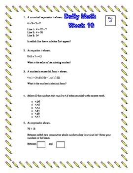 5th Grade Daily/Morning Math - Week 10 - 5 Standards
