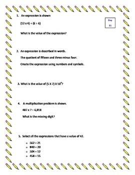 5th Grade Daily/Morning Math - Week 7 - 5 Standards