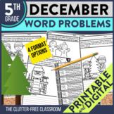 5th Grade December Word Problems printable and digital mat