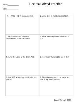 5th Grade Decimal Mixed Practice/Assessment