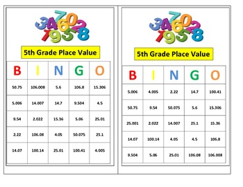 5th grade decimal place value bingo game for common core by mathtastic. Black Bedroom Furniture Sets. Home Design Ideas